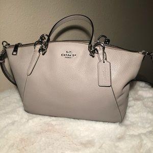 Coach Leather Bone Gray Handbag